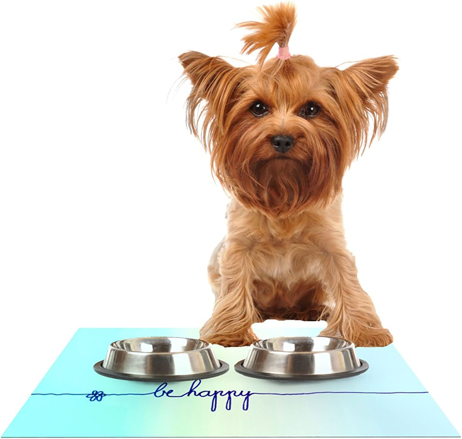 Kess InHouse Monika Strigel Be Happy Aqua  Simple bluee Pet Bowl Placemat for Dog and Cat Feeding Mat, 24 by 15Inch