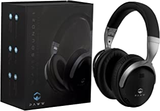 Paww WaveSound 2.1 Wireless Bluetooth Over-The-Ear Foldable Headphones/Headset with Mic, aptX Low Latency (34 ms) Super Fast Audio for TV, PC Gaming, Wired Mode (Black/Silver)