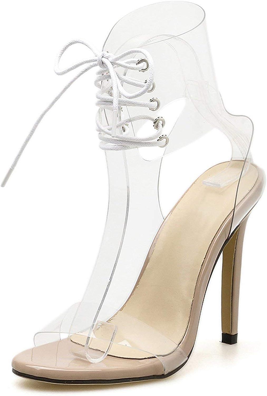 Gladiator Transparent PVC Peep Toe Lace Up High Heel Sandals Sexy Heels Stiletto Heel