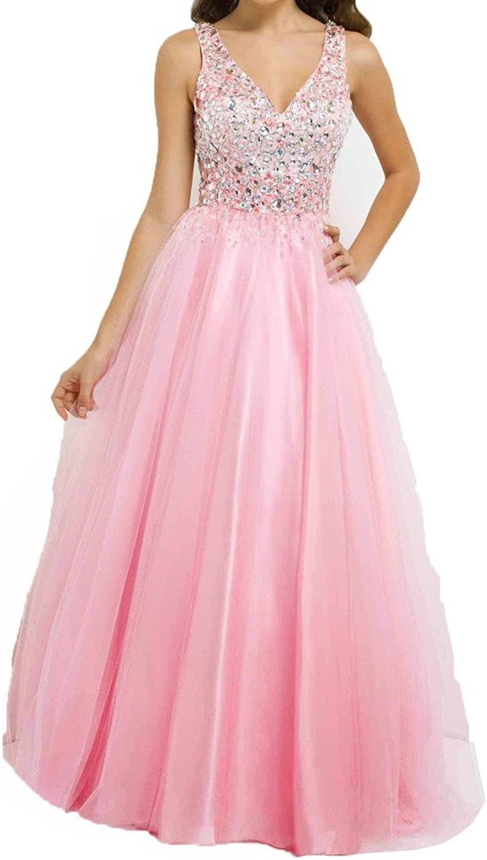 Blevla V Neck Beading Long Tulle Prom Evening Dress