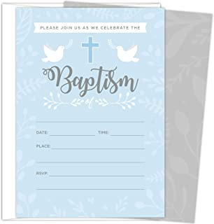 Baptism Invitations for Baby Boys, 25 Fill In The Blank Style Cards and Envelopes.
