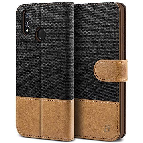 Preisvergleich Produktbild BEZ Hülle für Huawei P20 Lite Hülle,  Handyhülle Kompatibel für Huawei P20 Lite,  Handytasche Schutzhülle Tasche Case [Stoff und PU Leder] mit Kreditkartenhaltern,  Schwarz