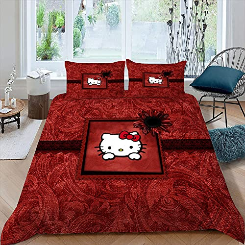 He-llo Kit-ty Bettwäsche-Set, Tagesdecke, für Jungen, Mädchen, Teenager, rote Blume, 1 Bettbezug mit 2 Kissenbezügen, Doppelbettgröße