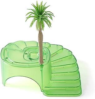 ペットテラスを登る 爬虫類バスキングプラットフォーム亀ココナッツ島タートル両生類のお風呂休憩生息地の隠れ家 装飾 (Color : Green, Size : 26x24x8.5cm)