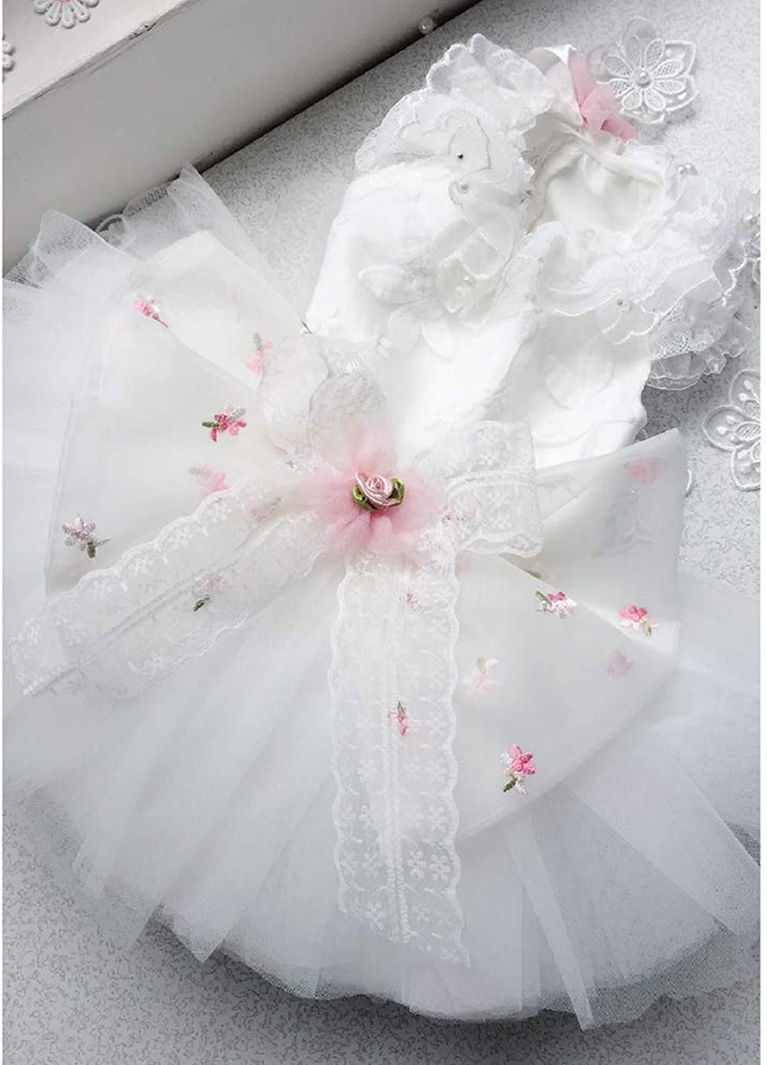 Dog Dresses, Puppy Dog Princess Dresses White Embroidery Design MultiLayered Fluffy Skirt Suitable for Wedding Photography Birthday Party,L
