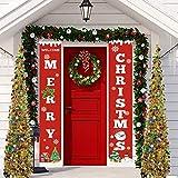 I love e iFecco Decorazioni di Natale Outdoor Indoor ,2 Pezzi di Benvenuto Buon Natale Portico Segno Banner Door ,Benvenuto Decorazioni per Porta di Natale Decor (rosso1)