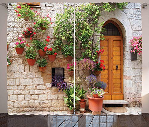 Ambesonne Tuscan Curtains, Begonia Blossoms in Box Window Wooden Shutters Brick Wall Romagna Italy, Living Room Bedroom Window Drapes 2 Panel Set, 108