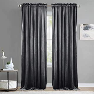 NICETOWN Luxury Velvet Blackout Curtain Panels - Home Decoration Window Treatment for Living Room/Bedroom/Home Theatre (2 Panel Per Pack, 96 inches Long, Grey)