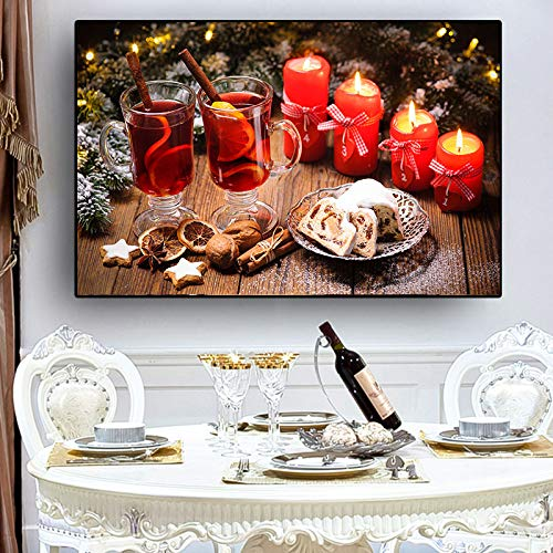 SADHAF Kerst Cake Kaars Drink Moderne Canvas Picture Poster en Print Keuken Woonkamer Wall Art 50x70cm (no frame) A3