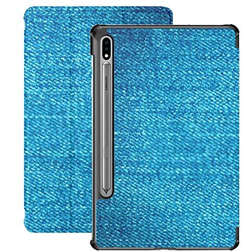 Funda Galaxy Tablet S7 Plus de 12,4 Pulgadas 2020 con Soporte para bolígrafo S, Textura de Jeans de Mezclilla Material Azul Fondo Funda Protectora con Soporte Delgado para Samsung