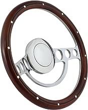 Forever Sharp 14 Inch Polished (9 Hole) Classic Steering Wheel Aluminum Rivets Mahogany Wood Half Wrap