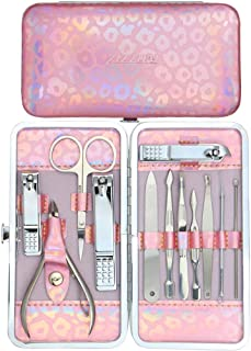 ZIZZON Nail Clippers Kit Manicure Pedicure set with Holographic Case(Pink)