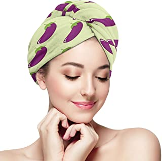 Repeat Eggplant Pattern Hair Towel Durable Lightweight Hair Drying Towel Soft Anti-Frizz Head Towel Absorbent Quick Dry Twist Hair Hat Magic Hair Wrap Towels For Long Curly Thicker Hair
