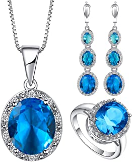 VPbao Cubic Zirconia Oval Crystal Chain Necklace Earrings Ring Jewellery Sets Blue