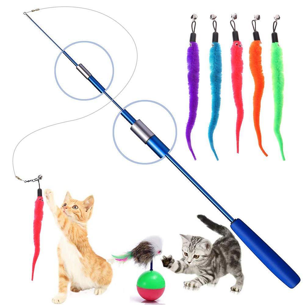 Juguete retráctil de Plumas para Gatos, Juguetes interactivos, Varita de Juguete para Gatos, Palos de Juguete para Mascotas, Gatos y Gatitos: Amazon.es: Productos para mascotas