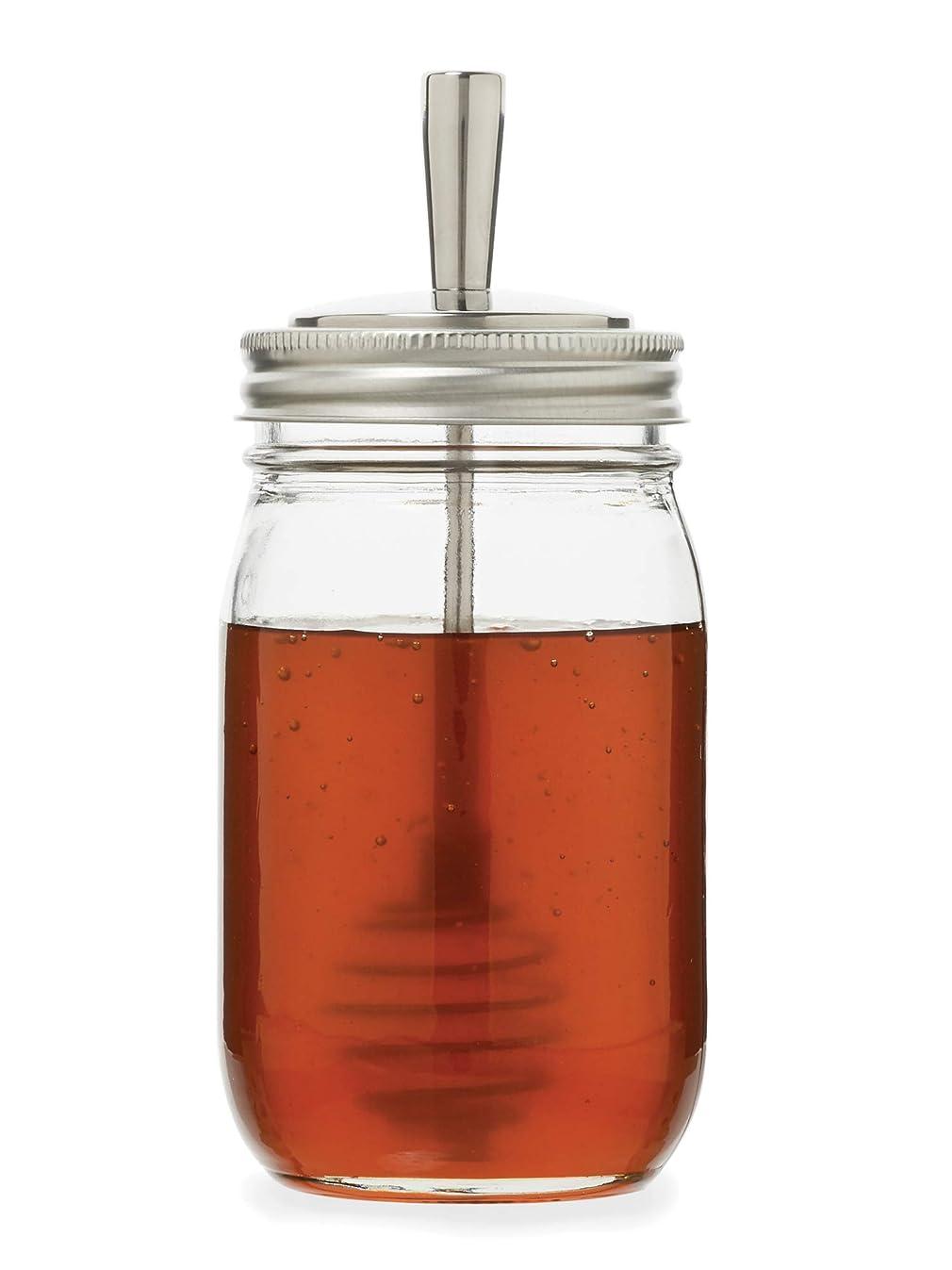 Jarware 82653 Metal Mason Jar Honey Dipper Lid, Regular Mouth, Stainless Steel