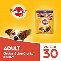 Pedigree Adult Wet Dog Food, Chicken & Liver Chunks in Gravy, 70 g (Pack of 30)