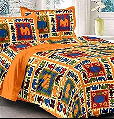 Narsinhenterprises Rajasthani Jaipuri Traditional Double Bed Bedsheet with 2 Pillow Covers (Yellow)