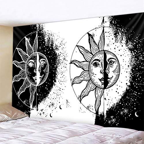 PPOU Tapiz de Diablo Blanco y Negro Mandala Hippie Bohemio Colgante de Pared brujería decoración Fondo Manta de Tela A5 180x200cm