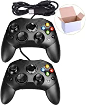 Mekela 2 Packs Classic Wired Controller Gamepad Joysticks for Xbox S Type Console (Black and Black)
