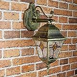 Klassische Wandlampe Außen Alu Gold Antik Glas Tiffany Stil E27 Beleuchtung Außen Garten Haus Balkon
