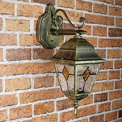 *Rustikale Wandleuchte in antikgold inkl. 1x 12W E27 LED Wandlampe aus Aluminium Glas für Garten Terrasse Weg Lampe Leuchten Beleuchtung außen*