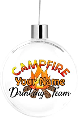 Bleu Reign BRGiftShop Personalized Custom Name Campfire Drinking Team Large Round Ball Tree Ornament