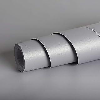 Livelynine Papier Peint Autocollant Gris Mat de 40CM*5m en Vinyle Film Adhésif Décoratif Amovible Lavable Étanche Mural St...