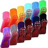 12 Pairs Non Slip Yoga Socks with Grips Women Anti-Skid Socks Sticky Grippers Socks for Pilates Ballet Barre Yoga, Multi Color
