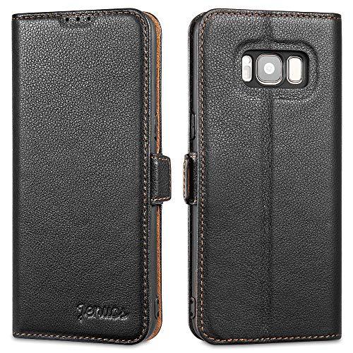 """Jenuos Cover Samsung S8, Vera Pelle Flip Libro Custodia a Portafoglio Folio Telefono con Magnetica Chiusa per Samsung Galaxy S8 5,8"""" - Nero (S8-Dk-BK)"""