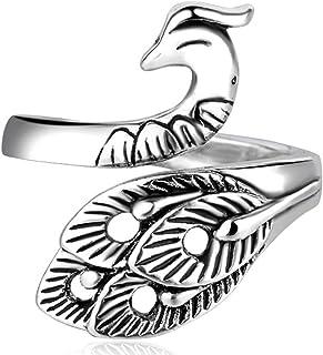 Gemcres Boho Vintage Finger Rings Open Animal Bands Ring Peacock Cuff Finger Rings Stackable Rings for Women