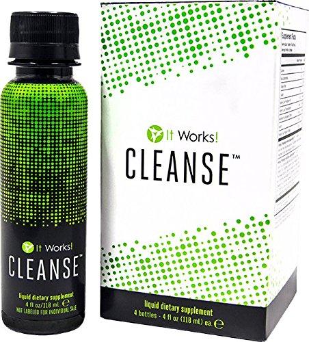 It Works! CLEANSE Aloe Vera Blatt Gel Extrakt, Chicoree Inulin (Prebiotic) und ein Komplex von 25 Pflanzenextrakten - 4 Flaschen