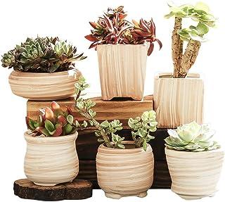 winemana 6 in Set 3 Inch Ceramic Succulent Plant Pot, Wooden Pattern Succulent Planter Container Bonsai Cactus Pots