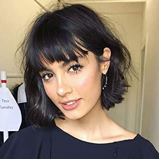 Short Bob Black Curly Wavy Wigs for Women Natural Looking Synthetic Hair Replacement Wig (Black)