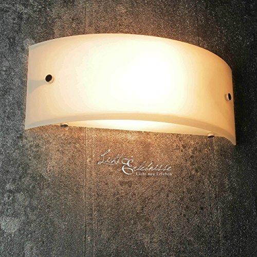 Wandleuchte modern halbrund weiß Breite 29 cm E14 max. 60W 230V Lampe Wand Halbschale Wandlampe ohne Muster Schlafzimmer Flur Küche Esszimmer Wohnzimmer Beleuchtung