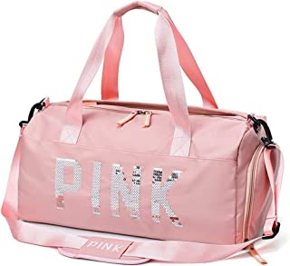 MeterMall Unisex Short Distance Travel Bags Sequins Hand Large Capacity Dry Wet Separation Swimming Bags Pink