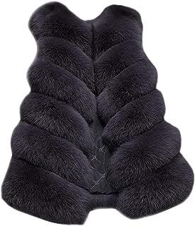 QIQIU Womens Sleeveless Warm Faux Fur Loose Waistcoat Solid Casual Winter Long Jacket Plus Size Coat