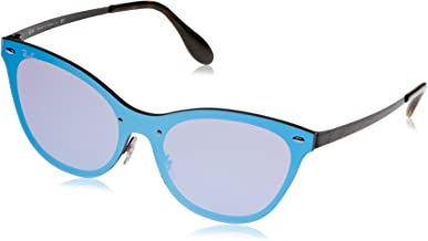 RAY-BAN Women's RB3580N Cat Eye Steel Sunglasses, Demigloss Black/Dark Violet Mirror Blue, 58 mm