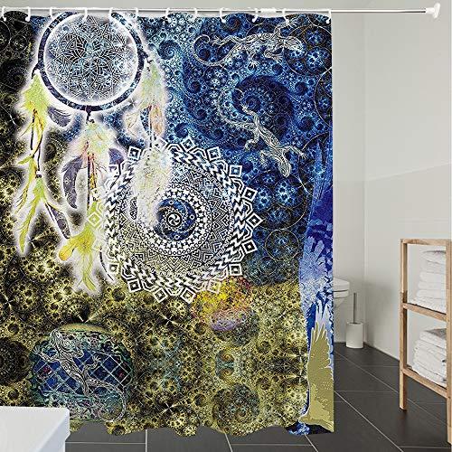 Derun Duschvorhänge, Textil Bad Vorhang aus Polyester, Anti-Schimmel, Asiatische Mandala von Lace Batik Hippie Zen Yoga große Dreamcatcher Echsen asiat,Blickdicht, Wasserdicht, Waschbar, 180X200cm
