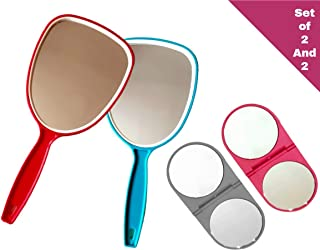 Always23 Hand Mirror, Handheld Mirror with Handle, Professional for Home, Salon, Barbers, Hairdressers, Pack of 2, Hand Mirror Plus 2, Pocket Size Mirror,