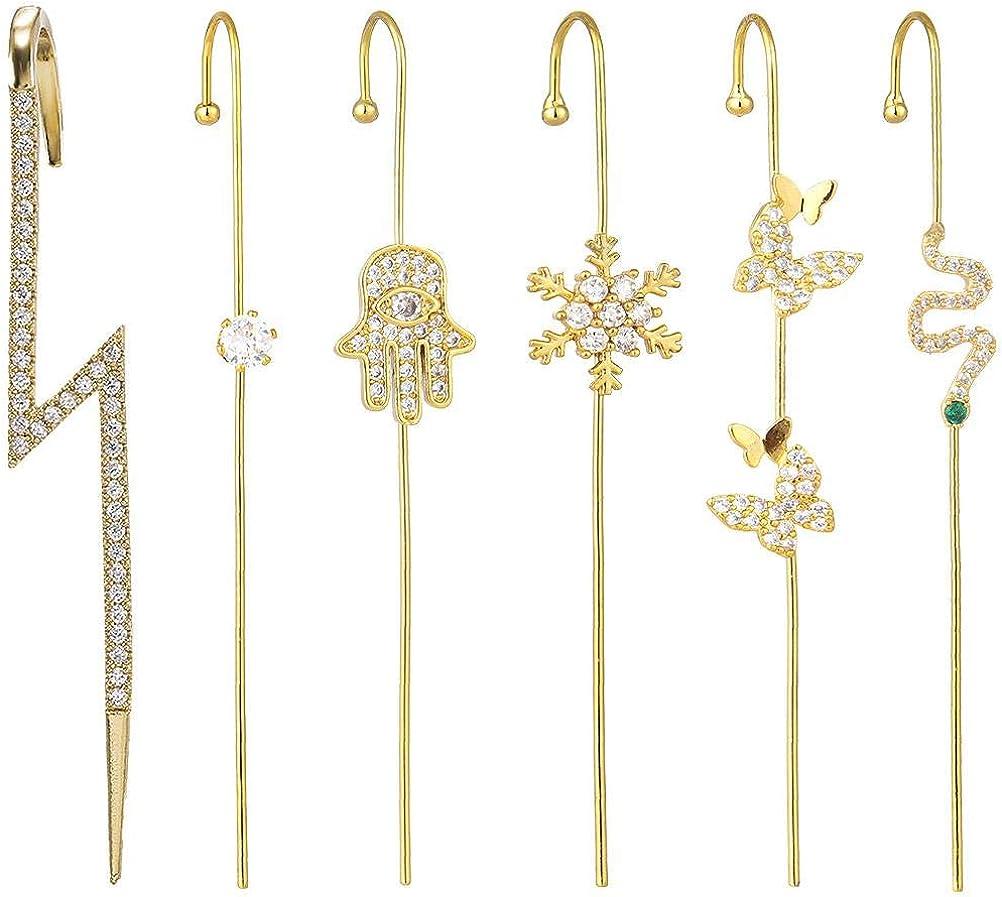 OTentW Ear Wrap Crawler Hook Earrings 6 Pcs Crystal Stud Earrings For Woman Cubic Zirconia Ear Wrap Earrings