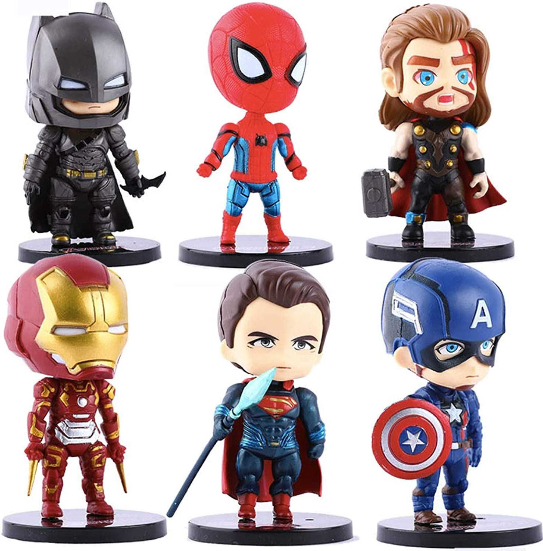 XBWJ Marvel Action Figure Spielzeug Set  Höhe 10 cm Spider-Man, Thor, Superman, Flash, Captain America, Batman Action Figure (Kinderspielzeugpuppe-Modell) - Insgesamt 6 Spielzeug B07PHY5123 Deutschland       Vorzugspreis