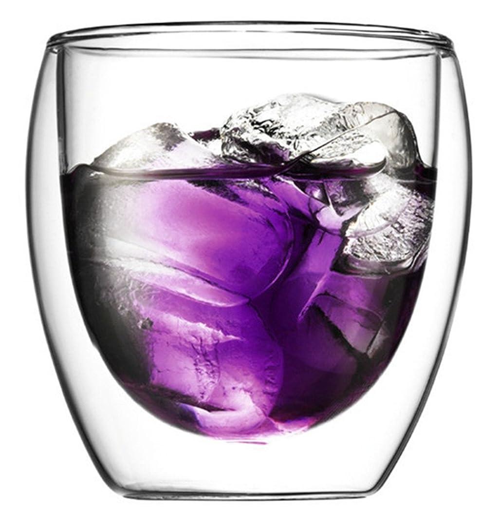 危険にさらされている差別限界Dragonone 玻璃品 耐熱ガラス 二層茶杯湯呑 2個セット (80ML)