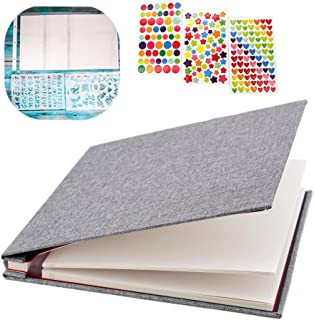 """WonderFour Photo Album Self Adhesive, Magnetic Photo Albums for Wedding/Family, Linen Hardcover 40 Sticky Pages Length 11"""" x 10.6"""", Scrapbook Album and DIY Accessories Kits (Grey)"""