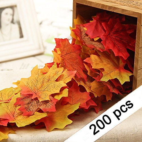 Yarssir 200Pcs Mixed Artificial Leaves Assorted Fall Maple Leaf Multicolor Autumn Fall Leaves for Weddings,Christmas party,Events and Decorating