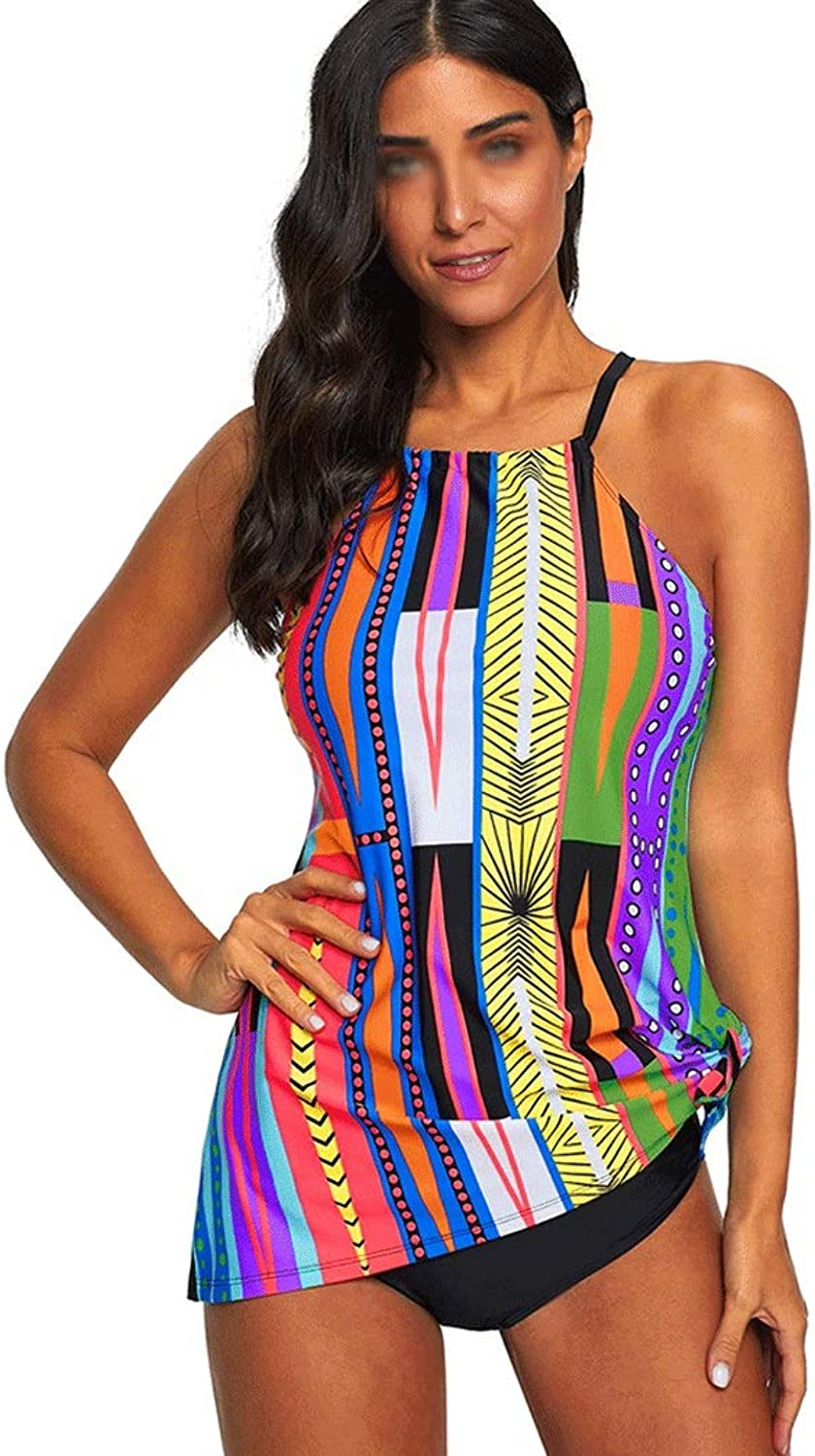 Split Swimsuit Female color Printing Conservative Sexy Vest Sling Triangle Split Swimsuit Fashion Europe and America