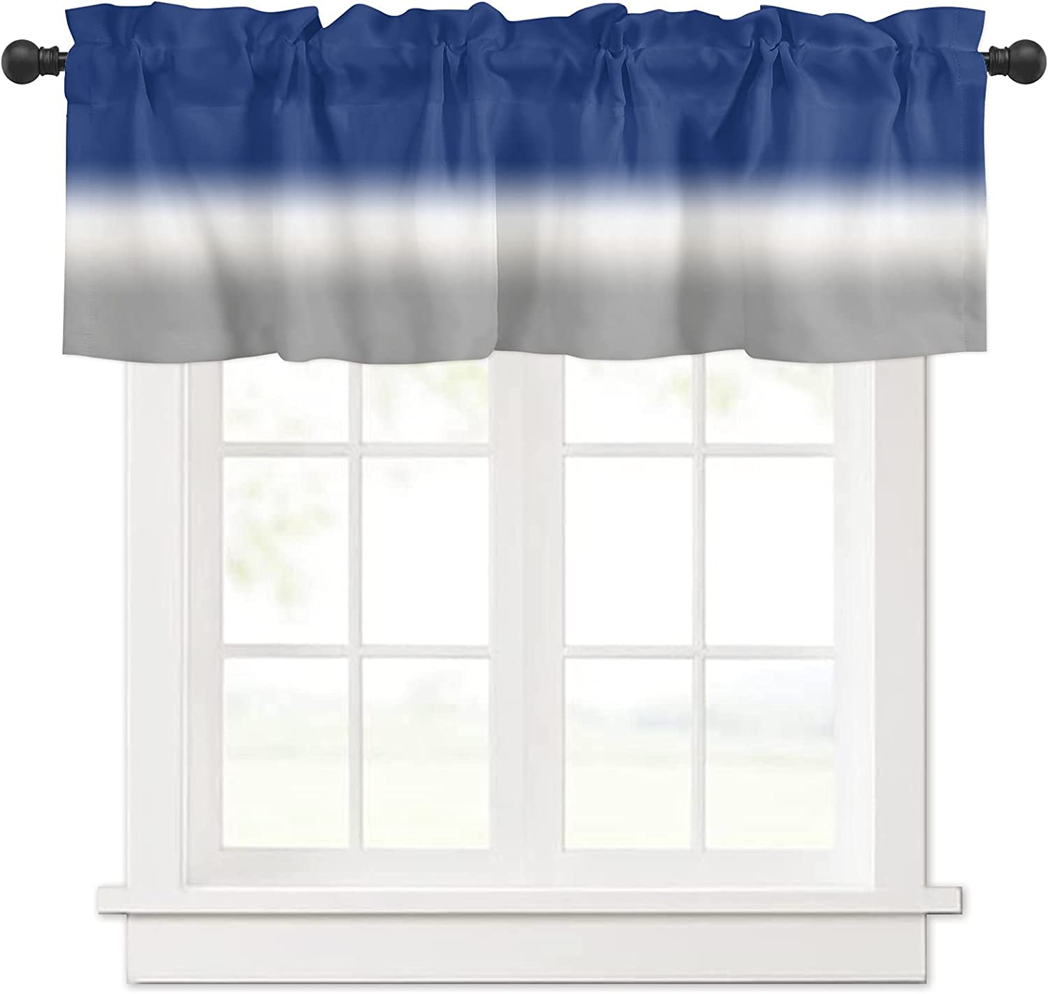 Ombre Blue White Over item handling ☆ Grey Gradient for Max 62% OFF Color Valances Window Curtain