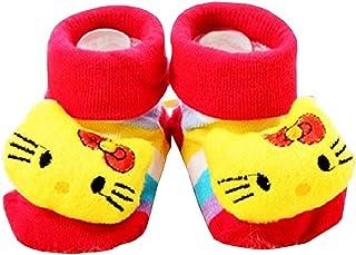 Lovelegis, Calcetines antideslizantes para niños - bebés - 0/12 meses - fantasía - gato - amarillo - gatito - rayas - hombre - mujer - unisex - idea de regalo de cumpleaños