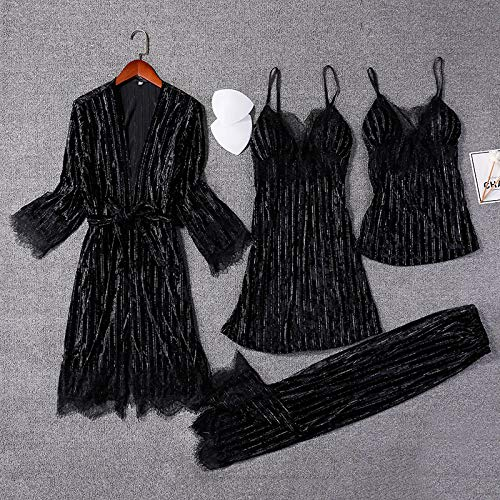 Conjuntos De Pijamas Para Mujer,Sexy Camisón De Terciopelo Triturado Batas De Manga Larga Rayas Negras Con Costuras De Encaje En V Profundo Conjunto De 4 Piezas Luxuriousautumn Winter Cozy Soft Sle