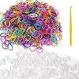 Gukasxi Loom - Juego de cintas elásticas para hacer pulseras, loom, incluye 600 unidades de cintas Loom y 480 unidades de color blanco con hebilla S